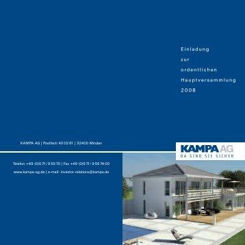 Einladung zur ordentlichen Hauptversammlung 2008 - KAMPA AG