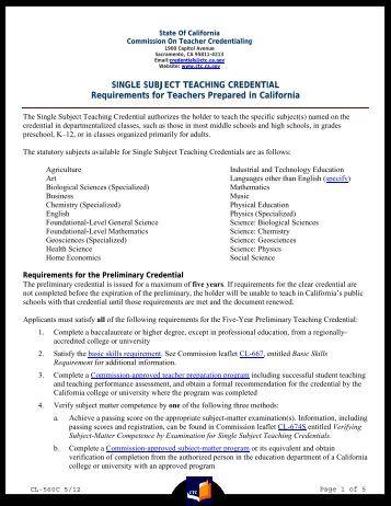 Single Subjects Teaching Credential Program - csuci.edu