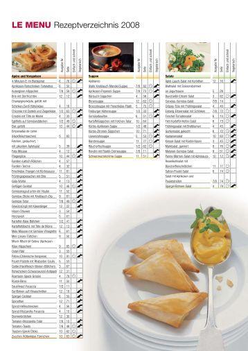 LE MENU Rezeptverzeichnis 2008
