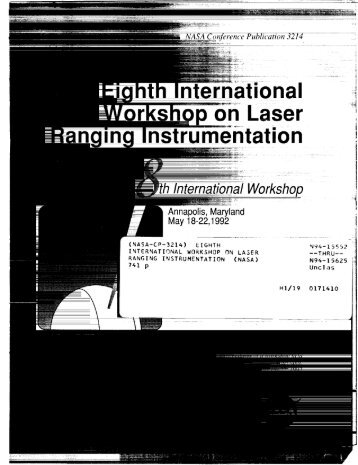 Proceedings of the Eighth International Workshop On ... - ILRS - NASA