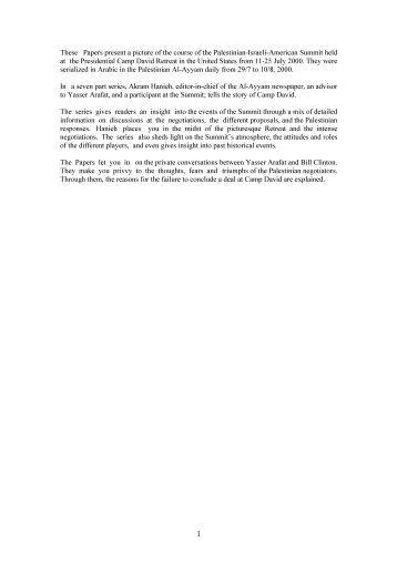 The Camp David Diaries - Palestine Liberation Organization ...