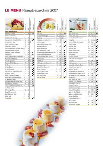 LE MENU Rezeptverzeichnis 2007