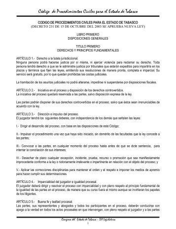 Código de Procedimientos Civiles para el Estado de Tabasco