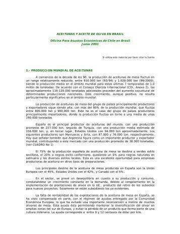 Aceitunas y aceite de oliva en Brasil - Bolsa de Comercio de Mendoza