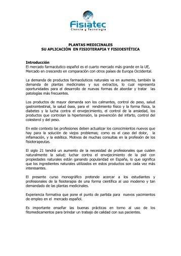 PLANTAS MEDICINALES SU APLICACIÓN EN FISIOTERAPIA Y ...