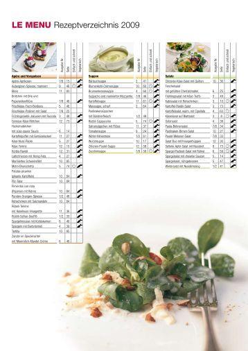 LE MENU Rezeptverzeichnis 2009
