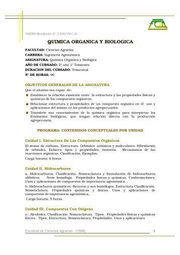 QUIMICA ORGANICA Y BIOLOGICA - Facultad de Ciencias Agrarias