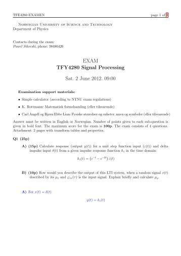 EXAM TFY4280 Signal Processing Sat. 2 June 2012. 09:00 - NTNU
