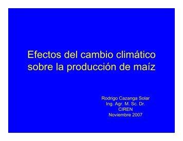 Efectos del cambio climático sobre la producción de maíz
