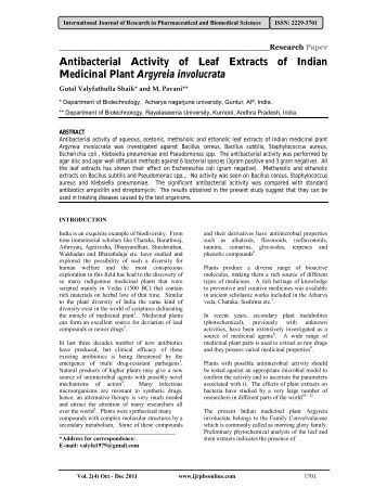 Antibacterial Activity of Leaf Extracts of Indian Medicinal Plant ...
