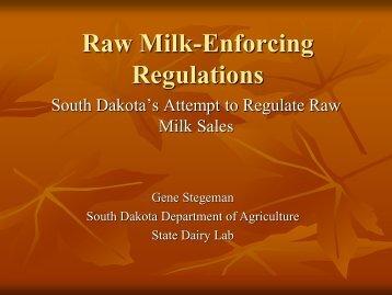 Raw Milk-Enforcing Regulations - NCAFDO