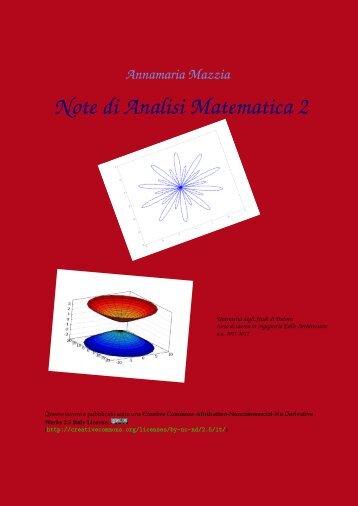 Note di Analisi Matematica 2 - Esercizi e Dispense - Università degli ...