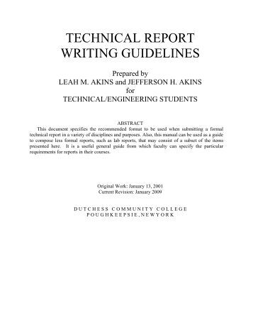 guidelines for technical writing The mayfield handbook of technical and scientific writing, an mit resource for technical writing the guidelines presented in table 2 are to help you produce clean, easily interpreted figures to aid your discussion table 2: guidelines for plots in 2671 reports.