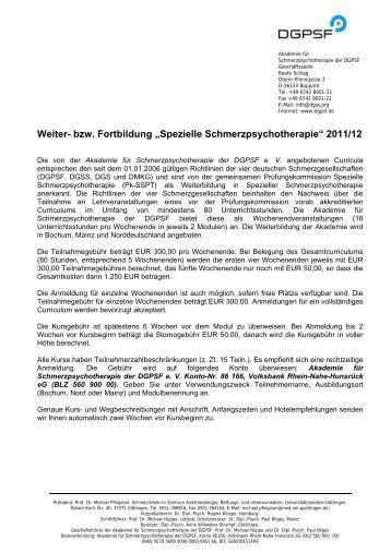 """Weiter- bzw. Fortbildung """"Spezielle Schmerzpsychotherapie"""" 2011/12"""