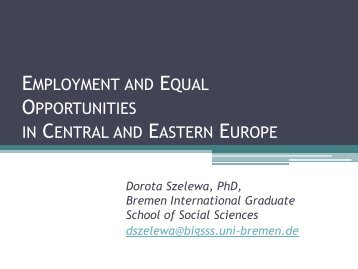 employment and equal opportunities in central and eastern europe