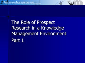 The Role of Prospect Research in a Knowledge Management