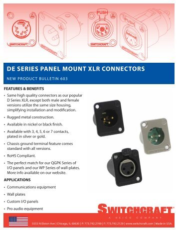DE Series Panel Mount XLR Connectors with Metal Shell - Switchcraft