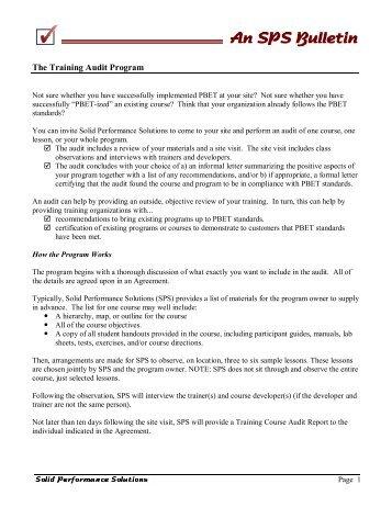 The Training Audit Program - Mr. PBET