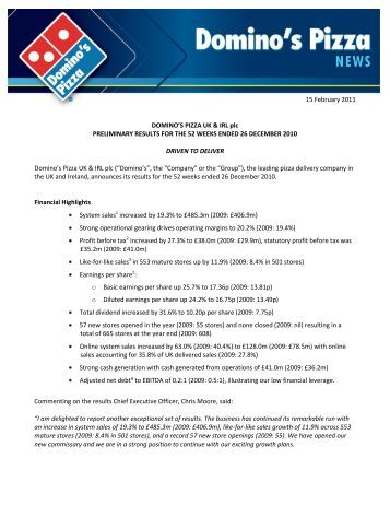 Notes to the Group financial statements - Domino's Pizza - UK.com