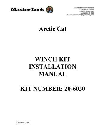 POLARIS WINCH MOUNT KIT Installation Instructions KIT