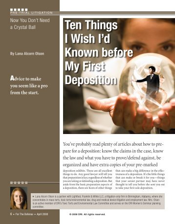 Ten Things I Wish I'd Known before My First Deposition - Lightfoot ...
