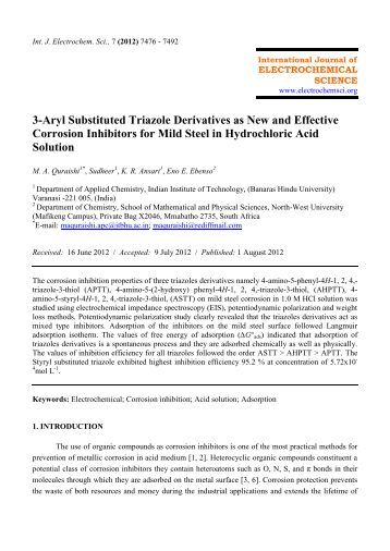 3-Aryl Substituted Triazole Derivatives as New and Effective ...