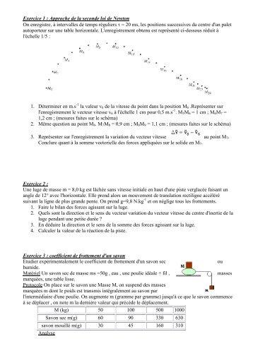 Exercice 1 : Approche de la seconde loi de Newton On enregistre, à ...