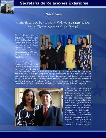Canciller por ley Diana Valladares participa en la Fiesta Nacional ...