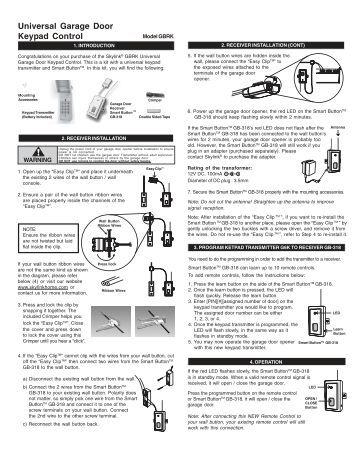 Universal Garage Door Remote Control Home Alarm Systems