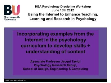 Incorporating examples from the Internet in the Psychology