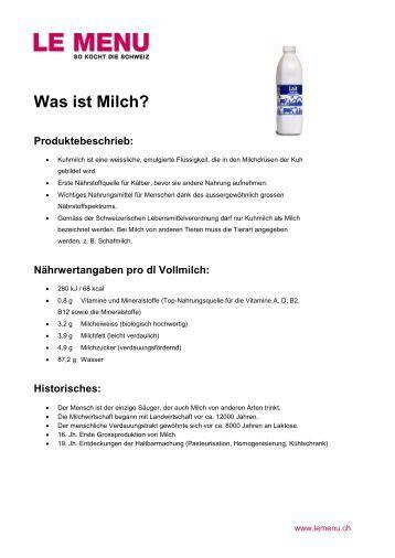 Facts rund um Milch zum Ausdrucken (PDF - Le Menu