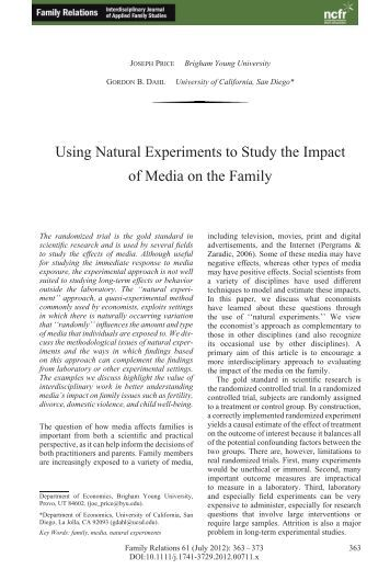 an analysis of impact on the family Policy institute for family impact seminars taking families seriously — taking families seriously: family impact analysis as an essential policy tool.