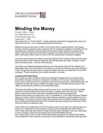 Minding the Money - Elite Traveler