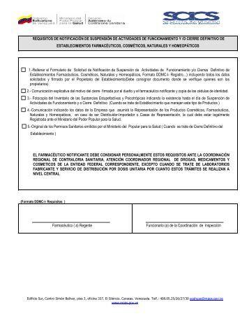 Notificación de Cierre Definitivo de Establecimientos - Servicio ...