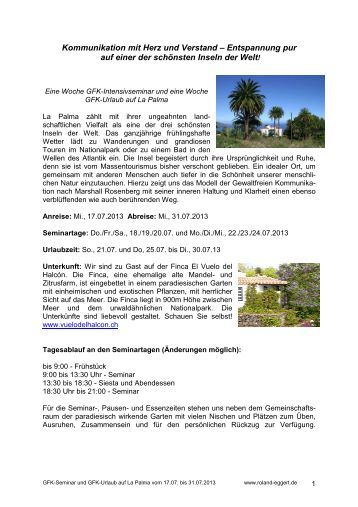 GFK-Seminar und Urlaub auf La Palma - Roland Eggert