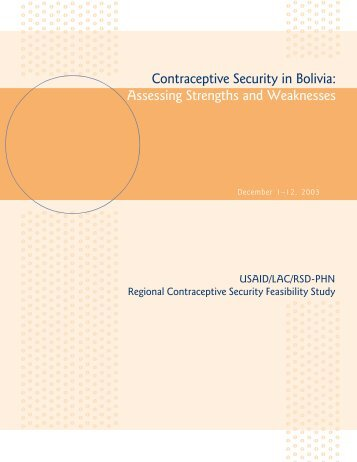 Contraceptive Security in Bolivia - Reproductive Health Supplies ...