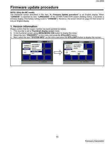 Firmware update procedure - Download - Panasonic