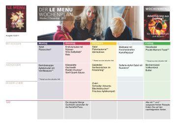 Mit dem LE MENU Wochenplan isst Ihre Familie gesund