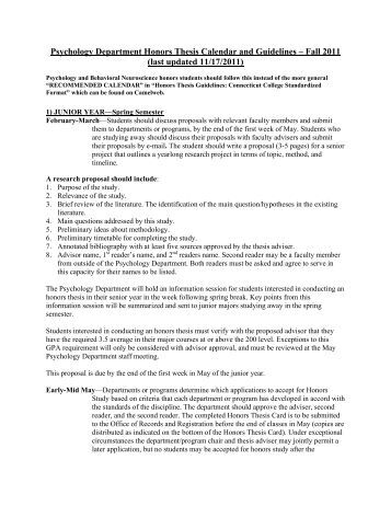 undergraduate honors thesis psychology Honors program honors program honors scientists and to use this course to help them focus on a topic for their honors thesis the thesis in psychology can.