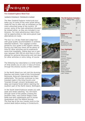 New Zealand Explorer Hotel Tour - Enduro Touring New Zealand