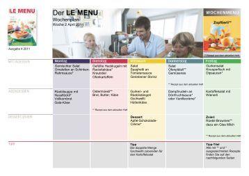 LE MENU Wochenplan 2 April 2011