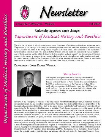 Fall 2002 - Medical History & Bioethics - University of Wisconsin ...