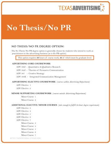 non thesis master degree