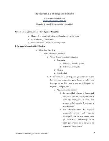 Introducción a la Investigación Filosófica - Instituto de ...