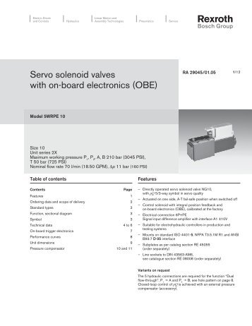 Servo solenoid valves with on-board electronics ... - Bosch Rexroth