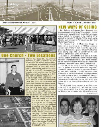 NEWSLETTER NOV 05 - Vision Ministries Canada