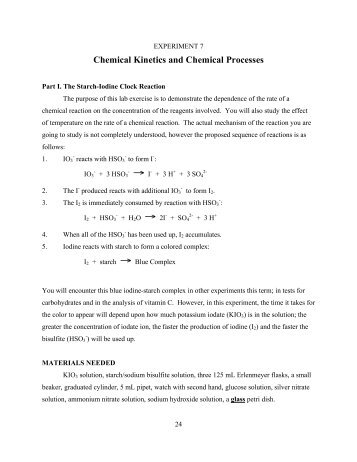 Chemical Kinetics and Chemical Processes