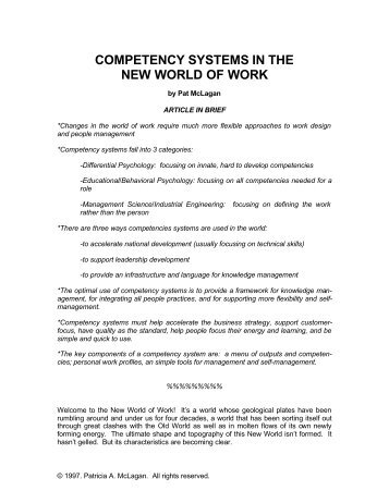 Competency systems in the new world of work - McLagan ...