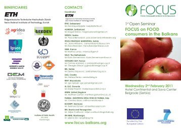 FOCUS on FOOD consumers in the Balkans