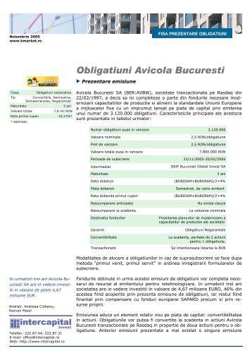 Fisa de Prezentare Obligatiuni Avicola Bucuresti - Kmarket.ro